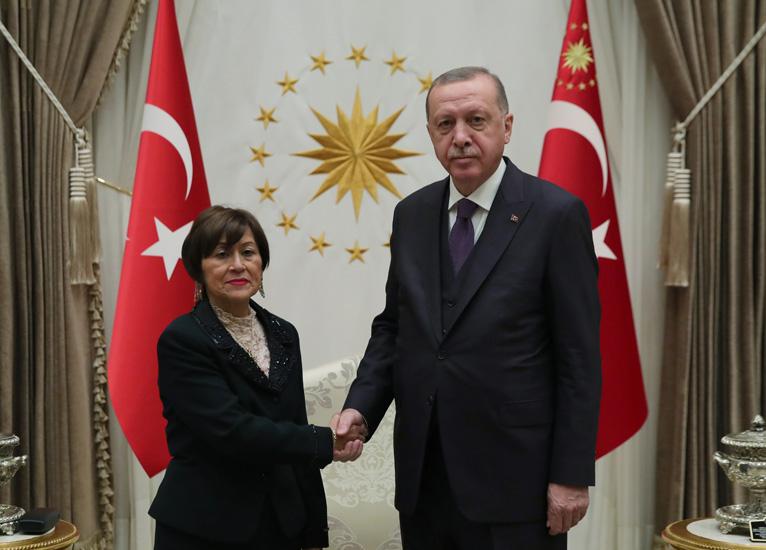 Cumhurbaşkanı Erdoğan,Ekvator Büyükelçisi Fanny De Lourdes Puma Puma'yı kabul etti